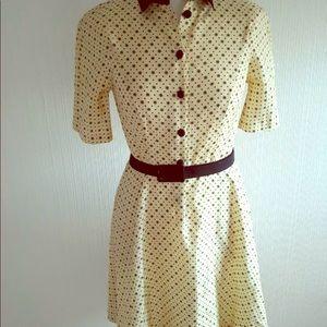 Fred Perry Lemon Silk Star Vintage Style Dress.